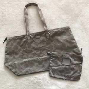 Coach Signature Nylon Large Weekender Bag in Taupe